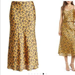 4SI3NNA leopard print satin midi skirt XS